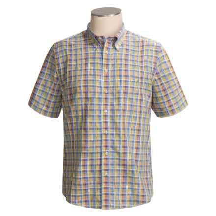 Gitman Brothers Sport Shirt - Windowpane, Short Sleeve (For Men) in Light Blue / Yellow Green Multi - Closeouts