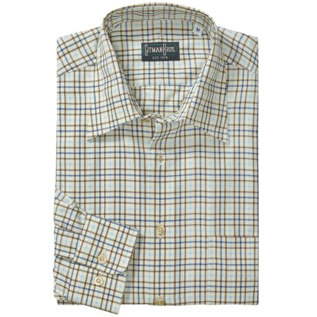 Gitman Brothers Spread Collar Sport Shirt - Long Sleeve (For Men) in Natural/Brown/Blue Check