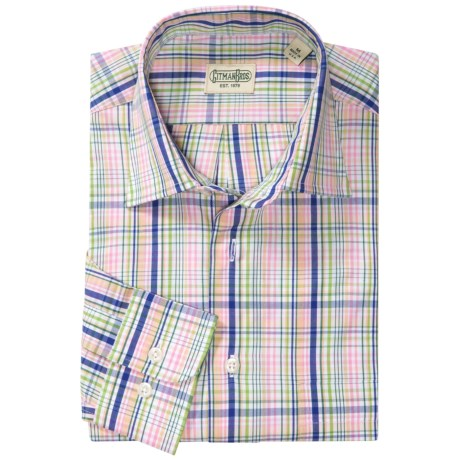 Gitman Brothers Spread Collar Sport Shirt - Long Sleeve (For Men) in Pink Multi Plaid