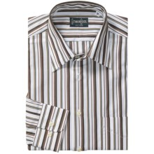 Gitman Brothers Spread Collar Sport Shirt - Long Sleeve (For Men) in White/Brown/Tan Stripe - Closeouts