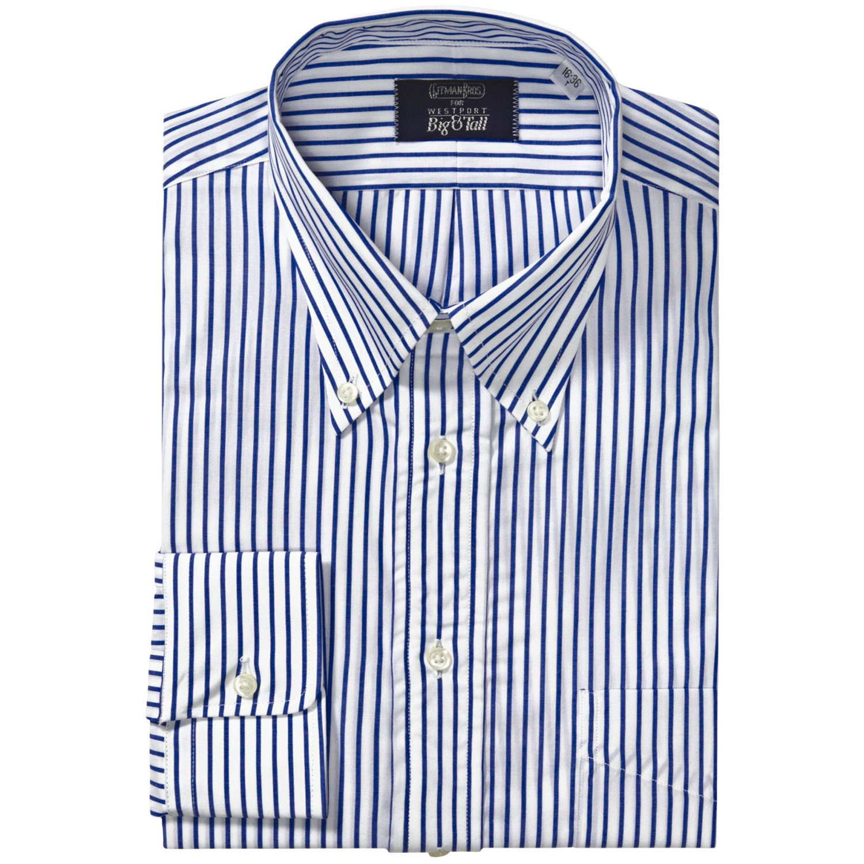 Gitman brothers stripe button down dress shirt long for Striped button down shirts for men