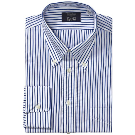 Gitman Brothers Stripe Button-Down Dress Shirt - Long Sleeve (For Big and Tall Men) in 1 Black/White Stripe