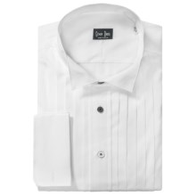 Gitman Brothers Tuxedo Shirt - Long Sleeve (For Big & Tall Men) in White Pleated/Black Buttons - Closeouts