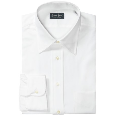 Gitman Brothers Twill Dress Shirt - Modified Spread Collar, Long Sleeve (For Tall Men) in White