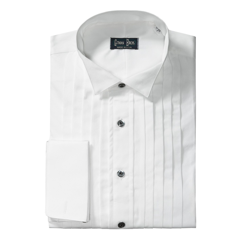 Gitman brothers wing collar formal dress shirt cotton for Tuxedo shirt black buttons