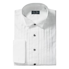 Gitman Brothers Wing Collar Formal Dress Shirt - Cotton, Long Sleeve (For Big Men) in White/Black Buttons - Closeouts