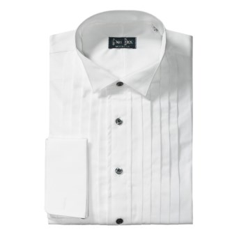 Gitman Brothers Wing Collar Formal Dress Shirt - Cotton, Long Sleeve (For Big Men) in White/Black Buttons