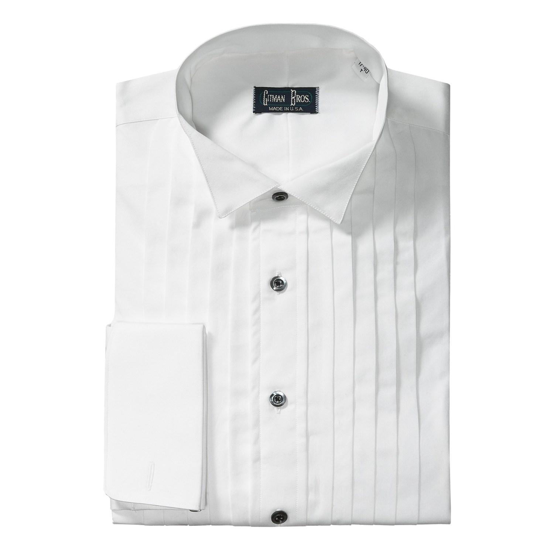 Gitman brothers wing collar formal dress shirt cotton for Small collar dress shirt
