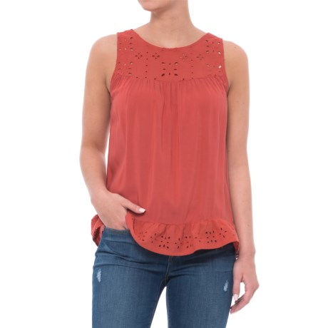 Given Kale Embroidered Eyelet Shirt - Sleeveless (For Women) in Pink