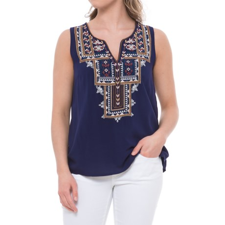 Given Kale Embroidered Tank Top (For Women) in Blue