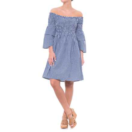 Given Kale Gingham Smocked Off-the-Shoulder Dress - 3/4 Sleeve (For Women) in Blue - Closeouts