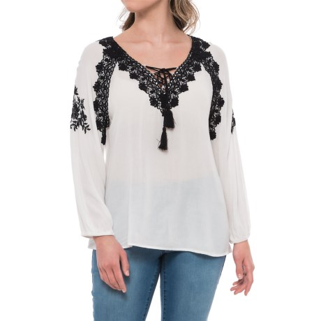 Given Kale Lace-Up Peasant Shirt - Long Sleeve (For Women) in White