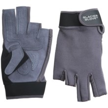 Glacier Glove Fingerless Stripping/Fighting Sun Gloves - UPF 50+ (For Men and Women) in Light Grey - Closeouts