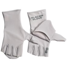 Glacier Gloves Abaco Bay Flip Mitts - Fingerless, UPF 50+ (For Men and Women) in Light Grey - Closeouts