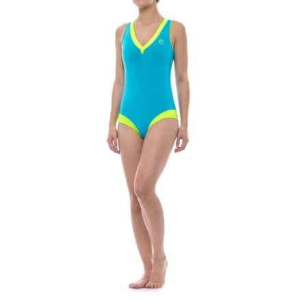 GlideSoul Glidesoul One-Piece Neoprene Swimsuit (For Women) in Cyan/Lemon - Closeouts