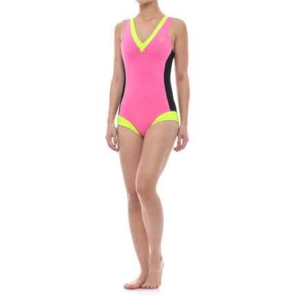 GlideSoul Glidesoul One-Piece Neoprene Swimsuit (For Women) in Lemon/Pink/Black - Closeouts