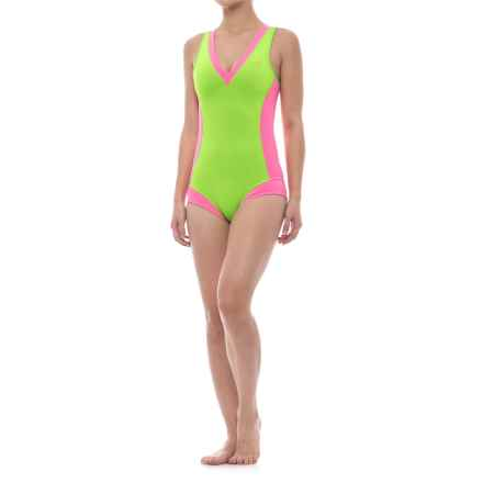 Glidesoul One-Piece Neoprene Swimsuit (For Women) in Lime/Pink - Closeouts