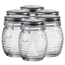 Global Amici Beehive Glass Canisters - Medium, Set of 6 in Clear Glass - Closeouts