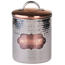 Global Amici Cucina Hammered Metal Canister - Medium in Copper/Stainless - Closeouts