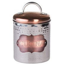 Global Amici Cucina Hammered Metal Canister - Small in Copper/Stainless - Closeouts