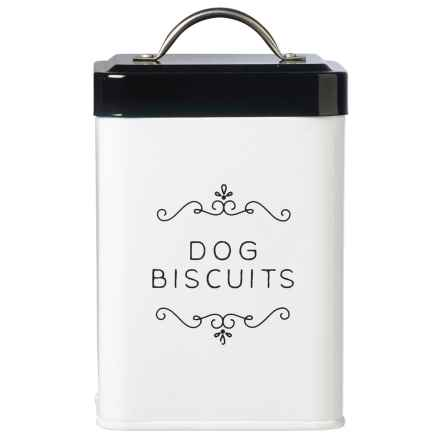 Global Amici Dog Biscuits Metal Dog Treat Canister - 36 oz. in Black/White - Closeouts