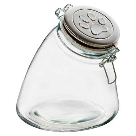 Global Amici Glass Paw Print Dog Treat Jar - 56 oz. in Silver/Clear - Closeouts