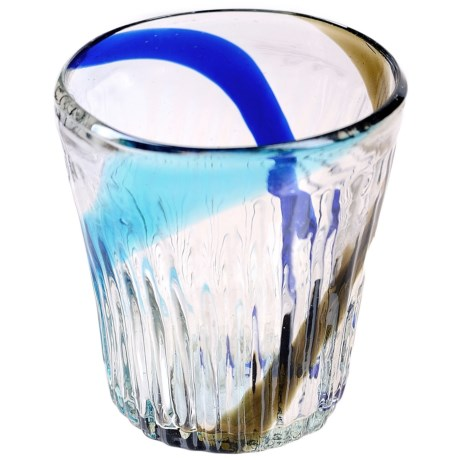 Global Amici Havana Collection Double Old-Fashioned Glass - Recycled Materials in Blue/Green Stripe