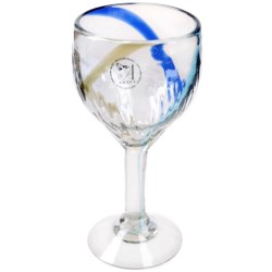 Global Amici Havana Glass Goblet - Recycled Materials in Blue/Green Stripe