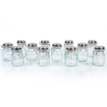 Global Amici Hexagonal Hermetic Spice Jars - Set of 12 in Clear Glass - Closeouts