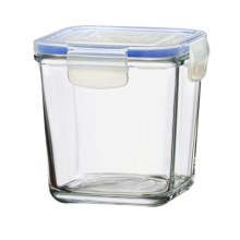 Global Amici Square Superblock Food Storage Jar - 29 oz. in Clear Glass - Closeouts