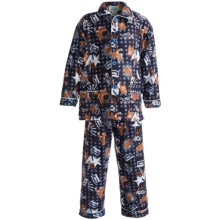 Global Flannel Pajamas - Long Sleeve (For Infant Boys) in Dark Blue/Brown Rock - Closeouts