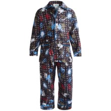 Global Flannel Pajamas - Long Sleeve (For Little Boys) in Dark Blue/Olive Rock - Closeouts