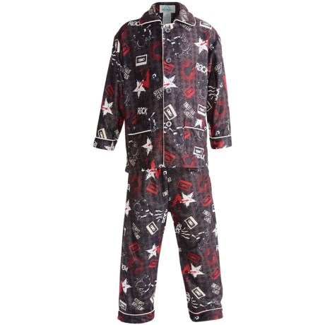 Global Flannel Pajamas - Long Sleeve (For Youth Boys) in Brown/Red Rock