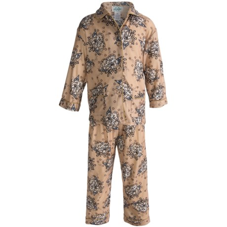 Global Flannel Pajamas - Long Sleeve (For Youth Girls) in Brown