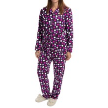 Global Polar Fleece Pajamas - Long Sleeve (For Women) in Purple W/Multi Dots - Closeouts