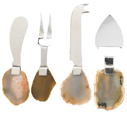 Godinger Agate-Handled Cheese Utensils - Set of 4, Stainless Steel in Stainless - Closeouts