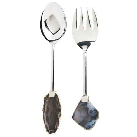 Godinger Agate-Handled Salad Serving Set - Stainless Steel in Stainless - Closeouts