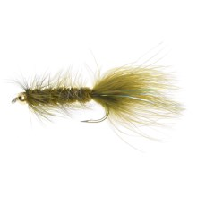 Gold Bead Head Wooly Bugger Streamer Fly - Dozen in Olive - Closeouts