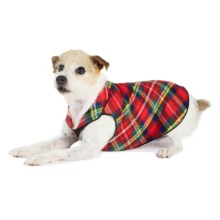 Gold Paw Stretch Fleece Pullover Dog Sweater in Red Plaid - Closeouts