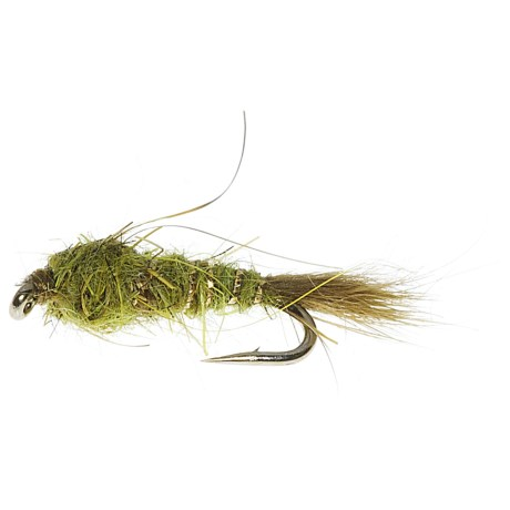 Gold Ribber Hare's Ear Nymph Fly - Dozen in Olive