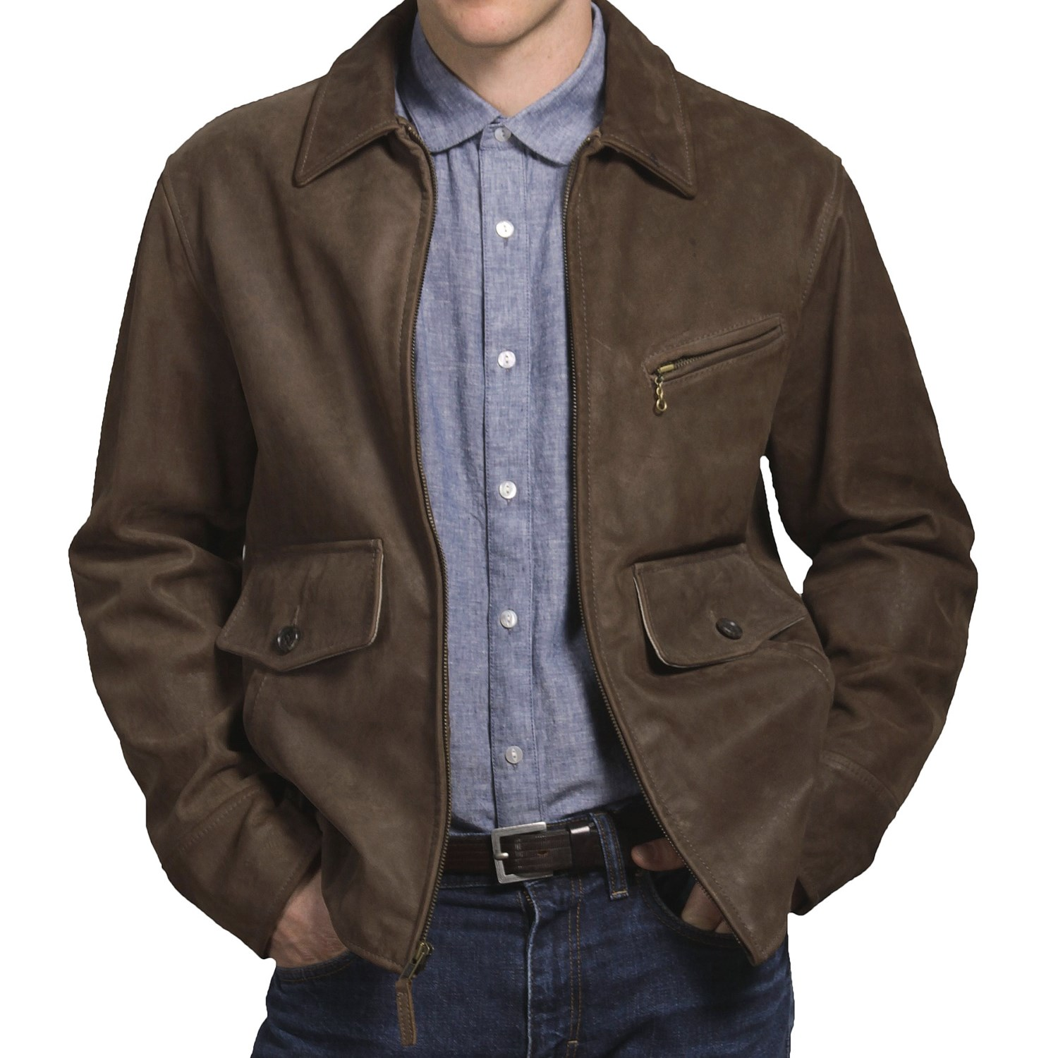 Golden Bear Cowhide Leather Jacket (For Men) in Timber