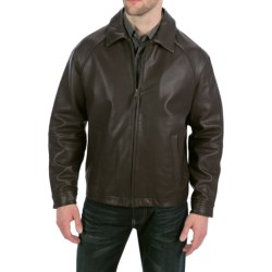 Golden Bear The Richmond Jacket - Shrunken Lambskin Leather in Dark Brown