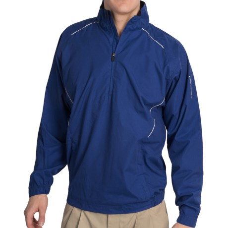 Golf Wind Shirt - Zip Neck, Long Sleeve (For Men) in White