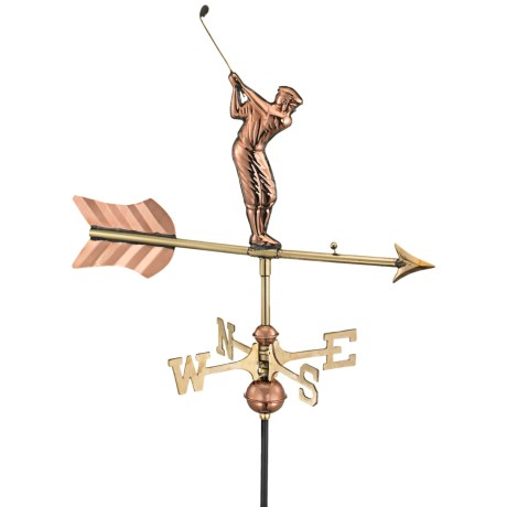Good Directions Golfer Weathervane - Garden Pole in Polished Copper