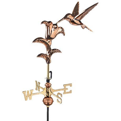 Good Directions Hummingbird Garden Weathervane in Polished Copper