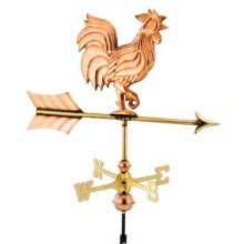 Good Directions Rooster Weathervane - Garden Pole in Polished Copper - Closeouts