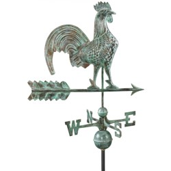 Good Directions Rooster Weathervane - Roof Mount in Blue Verde Copper