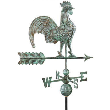 Good Directions Rooster Weathervane - Roof Mount in Polished Copper