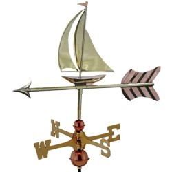 Good Directions Sailboat Garden Weathervane - Garden Pole in Polished Copper