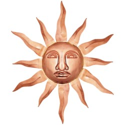 Good Directions Small Sun Face - Copper in Polished Copper